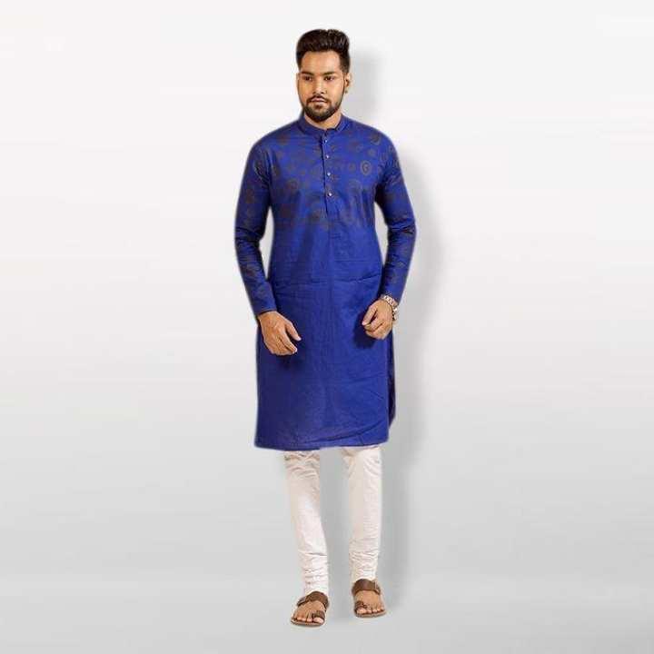 Cotton Casual Semi Long Panjabi For Men - Blue