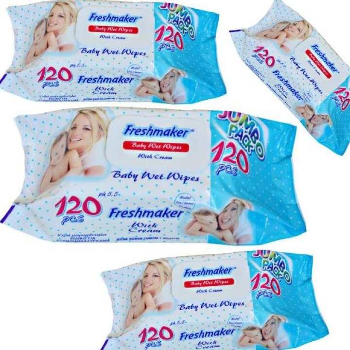 Pack of 4 Freshmaker Baby Wet Wipes - 480 pcs