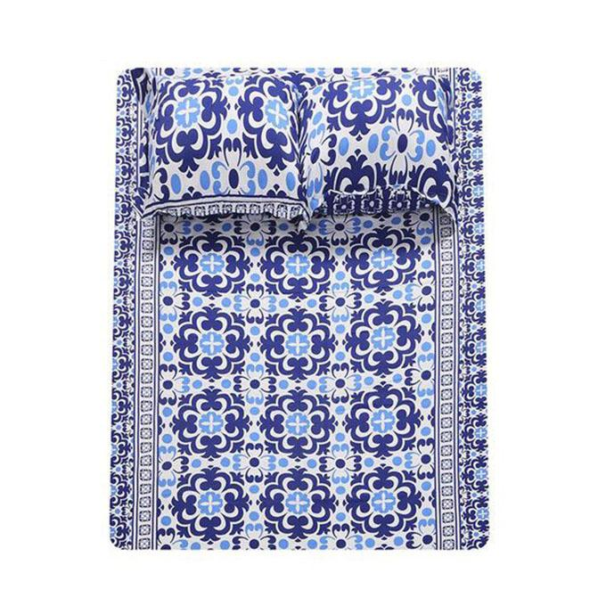 Cotton Printed Bed Sheet - White & Blue