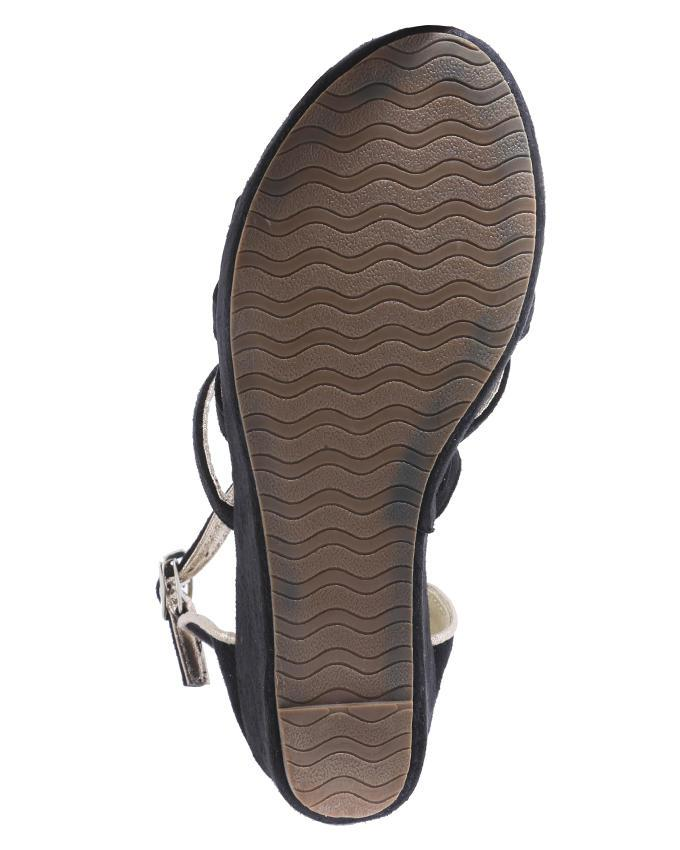 Leather Women Wedges Sandals - Black
