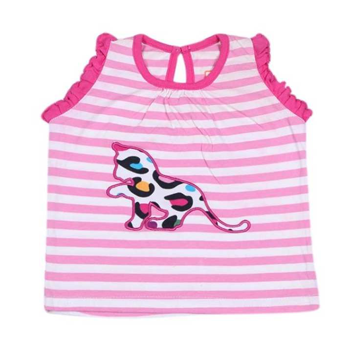 White and Pink Cotton Sleeve Less Tops For Girls