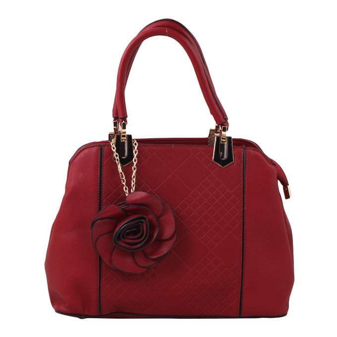 Dark Red PU Leather Hand Bag For Women