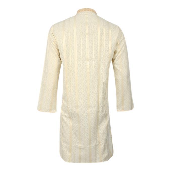 White and Yellow Cotton Panjabi For Men