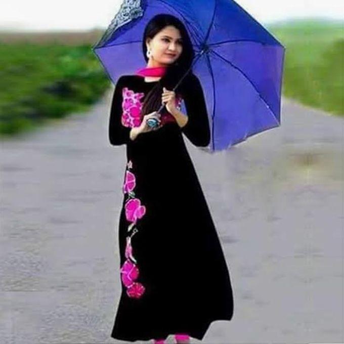 Black Cotton Un-stitched Block Printed Shalwar Kameez For Women