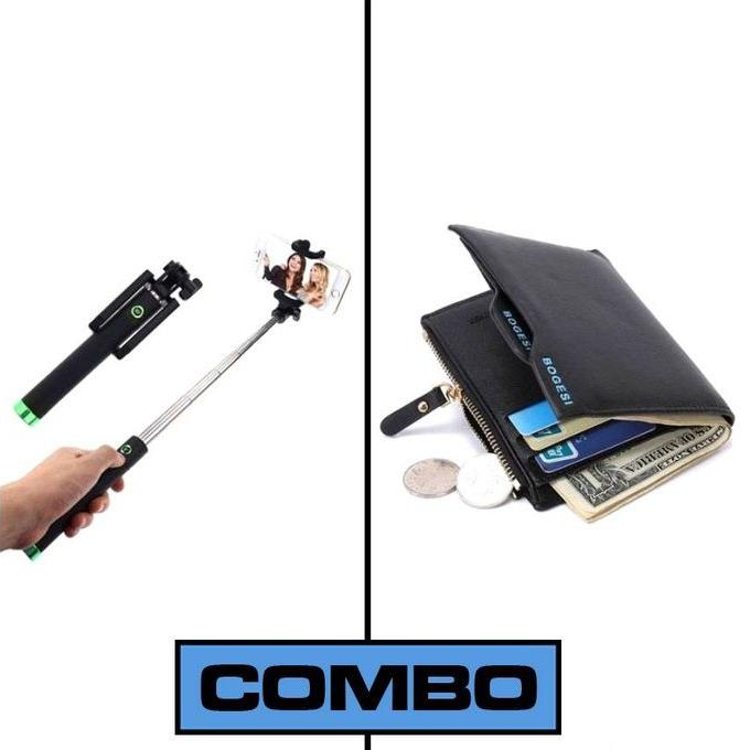Combo Of Selfie Stick and Black Leather Wallet for Men