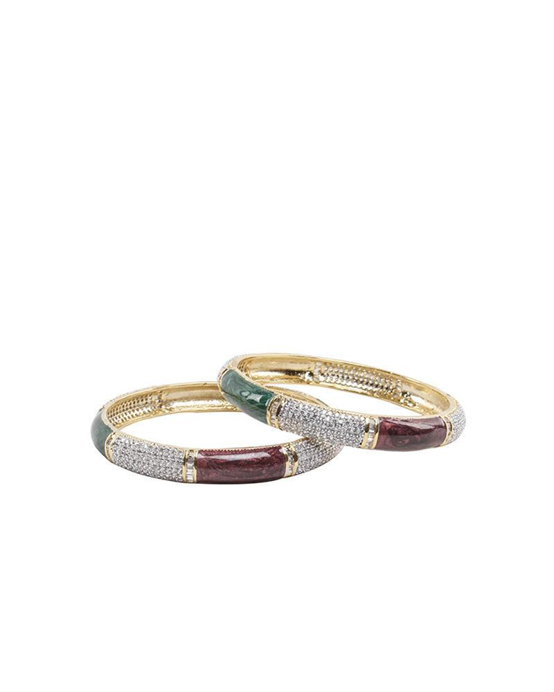 Golden Body Diamond Cut AD Stone bangles - Green, White and Maroon