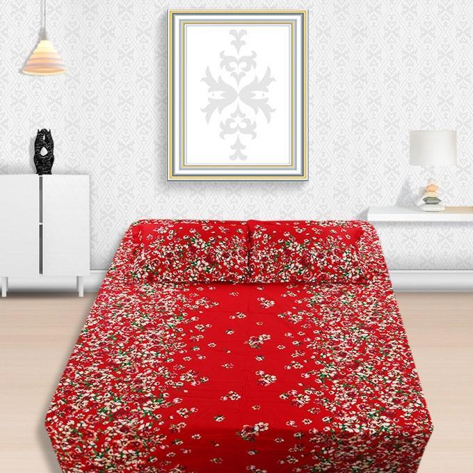 1601 Reactive Twile Cotton Bedsheet Set - Multicolor