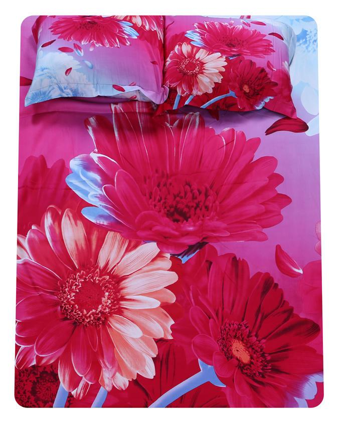 Cotton Printed Double Bed Size Bed Sheet - Pink