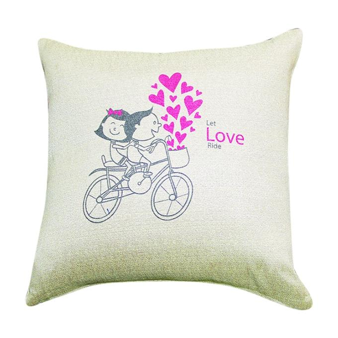 Lets Love Ride Printed Cushion Cover - Off-white