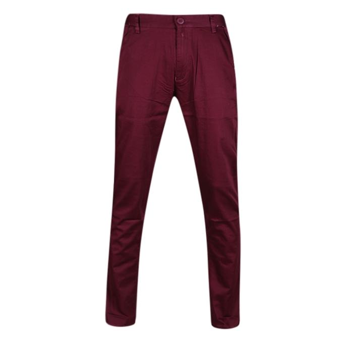 Maroon Twill Casual Gabardine Pant For Men