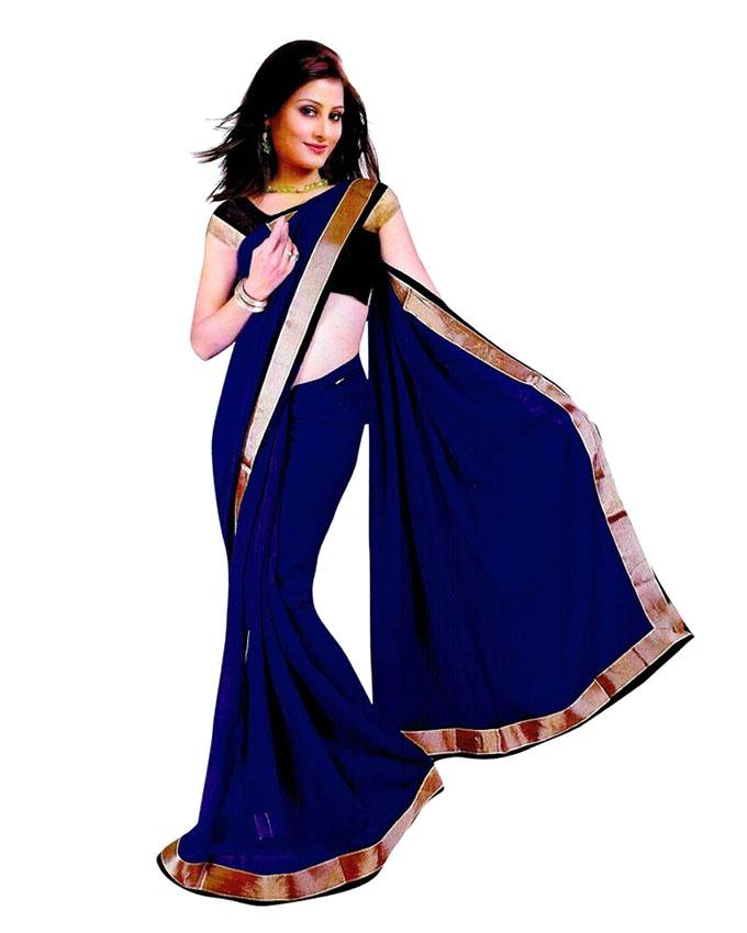 Blue Indian Soft Georgette Saree For Women