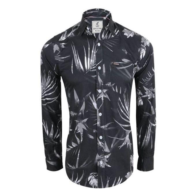 Leaf Printed Black Cotton Shirt For Men