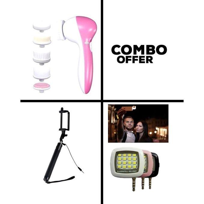 Combo Pack of 5 in 1 Beauty Massager and Selfie Stick and LED Flash Light - Pink and White