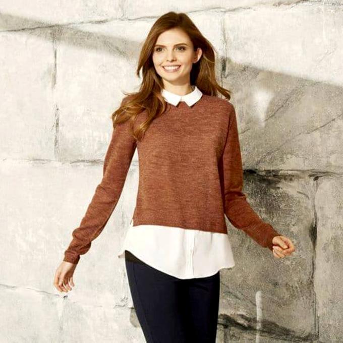 Coffee Aclyric Long Sleeve Sweater for Women