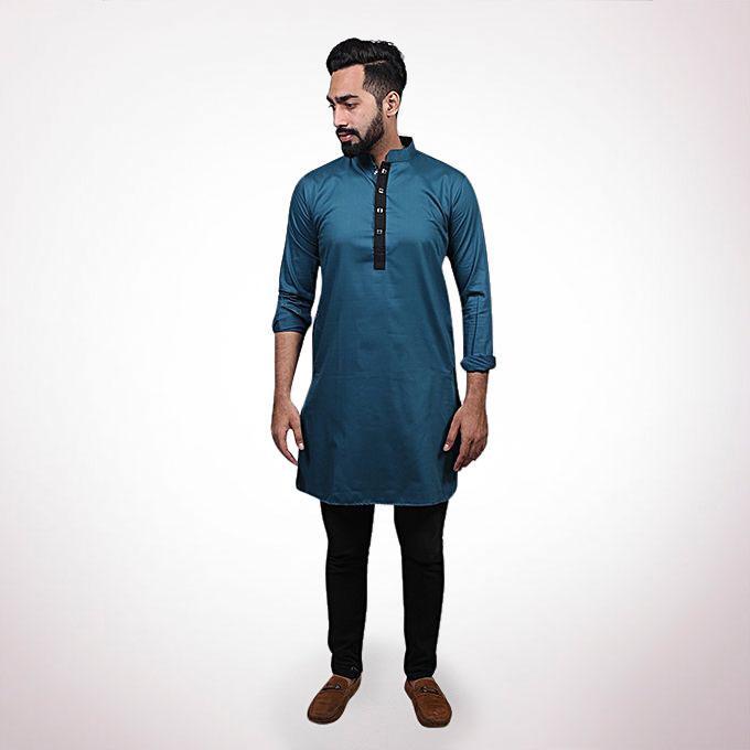 Light Navy Blue Cotton Panjabi For Men