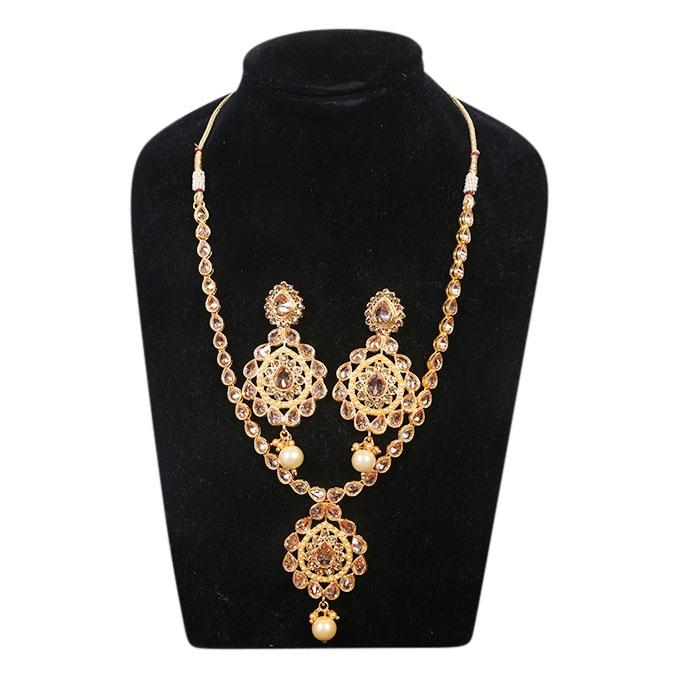 Golden Metal And Stone Jewellery Set For Women