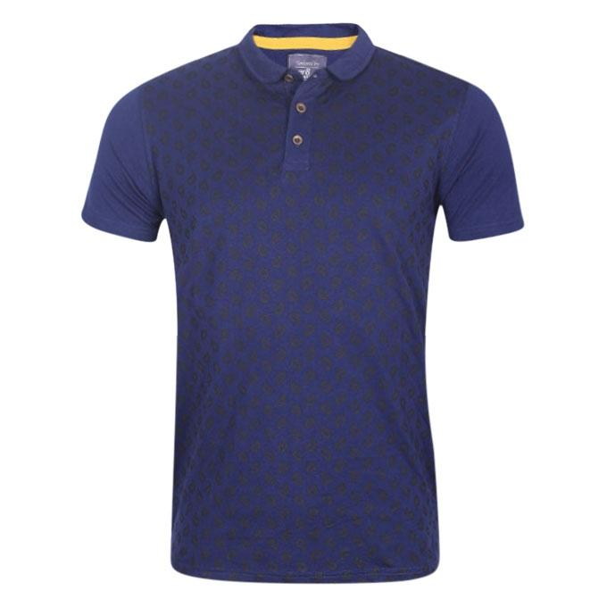 Printed Blue and White Cotton Polo Shirt For Men