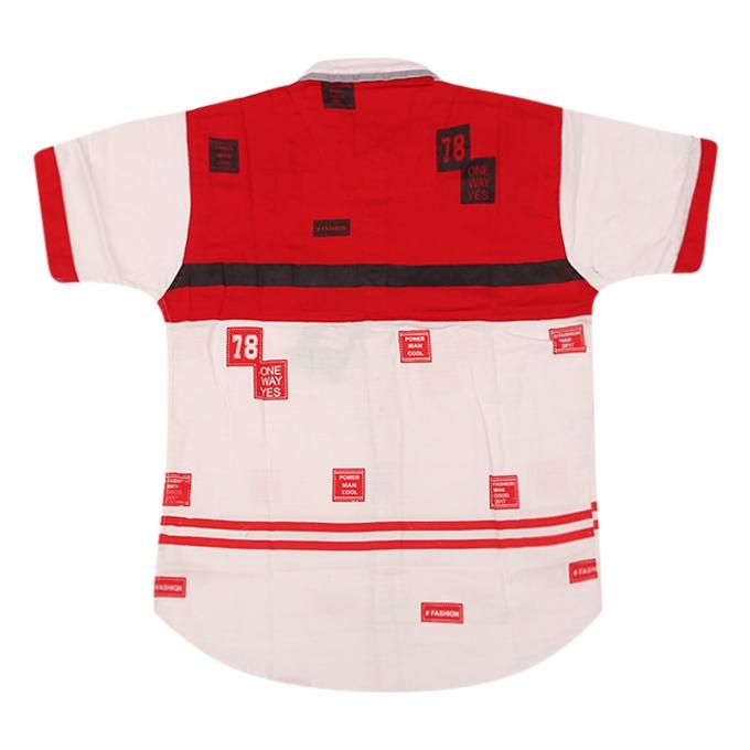 Red and White Cotton Casual Short Sleeve Shirt For Boys