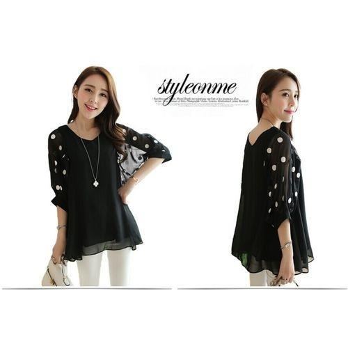 8b8ed73d64972 New Fashion Summer Sexy Elegant Chiffon Shirt Casual Loose Dots Point Bat Sleeves  Blouse Tops Plus