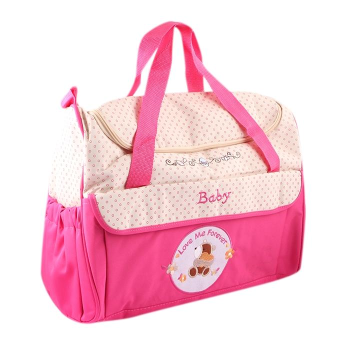 Cream and Deep Pink Polyester Hand Bag For Women