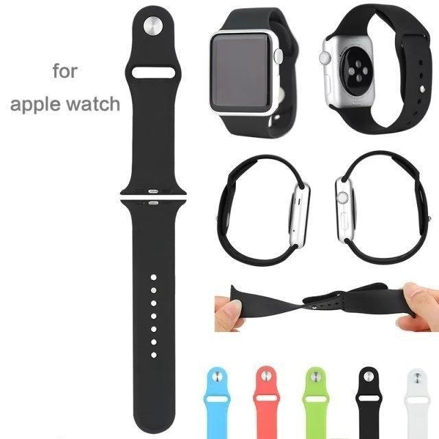 Silicone Watchband 38mm Metal Buckle Strap For Apple Watch Sport Edition