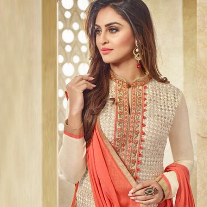 Bisque and Tomato Georgette Unstitched Indian Shalwar Kameez For Women