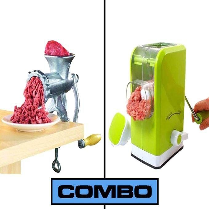 Meat Grinder and Meat Mincer Combo set - Green and Silver