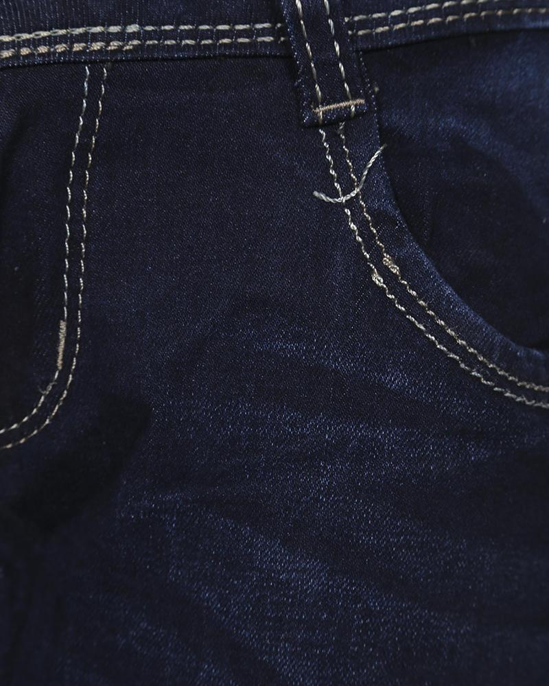 Mixed Cotton Jeans - Navy Blue