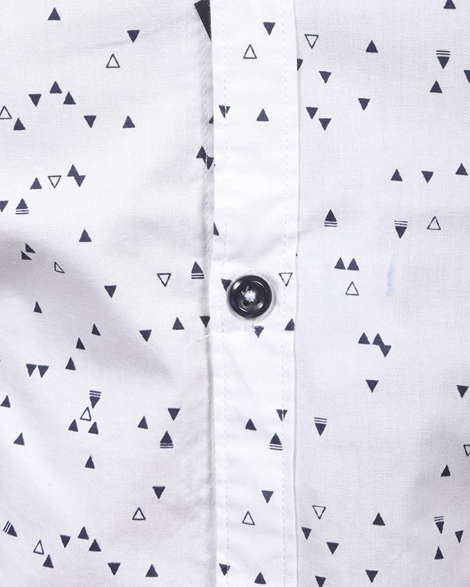 White Printed Cotton Long Sleeve Tanjim Shirt For Men