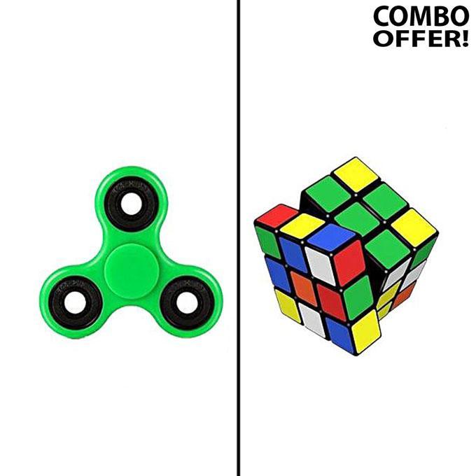 Fidget Spinner & Rubik's Magic Cube - Green