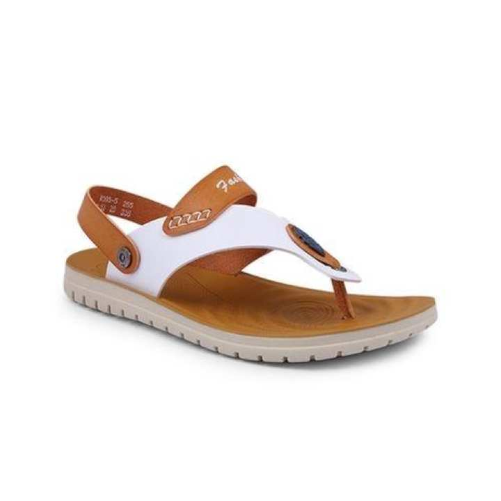 PU Sandal For Men - White and Brown