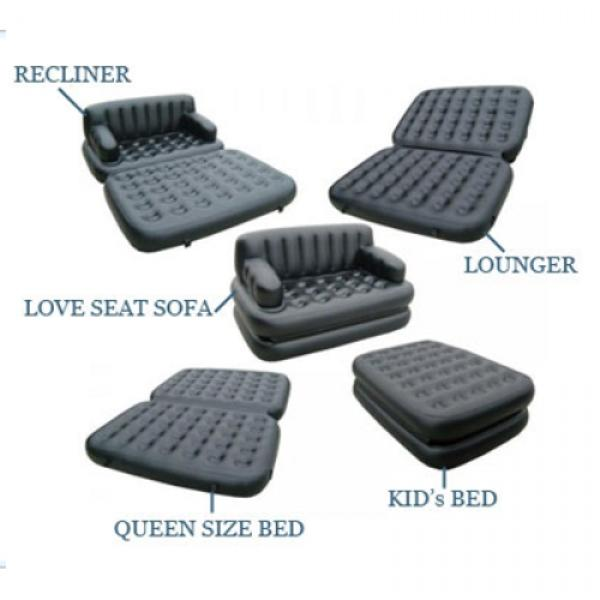 5 in 1 Sofa Cum Bed Leather Look Air Lounge - Black