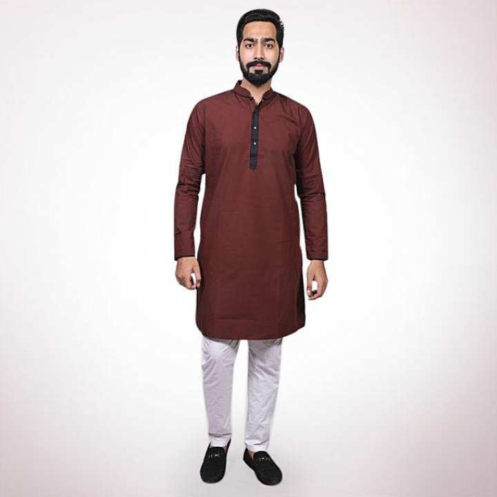 Maroon Cotton Casual Panjabi for Men