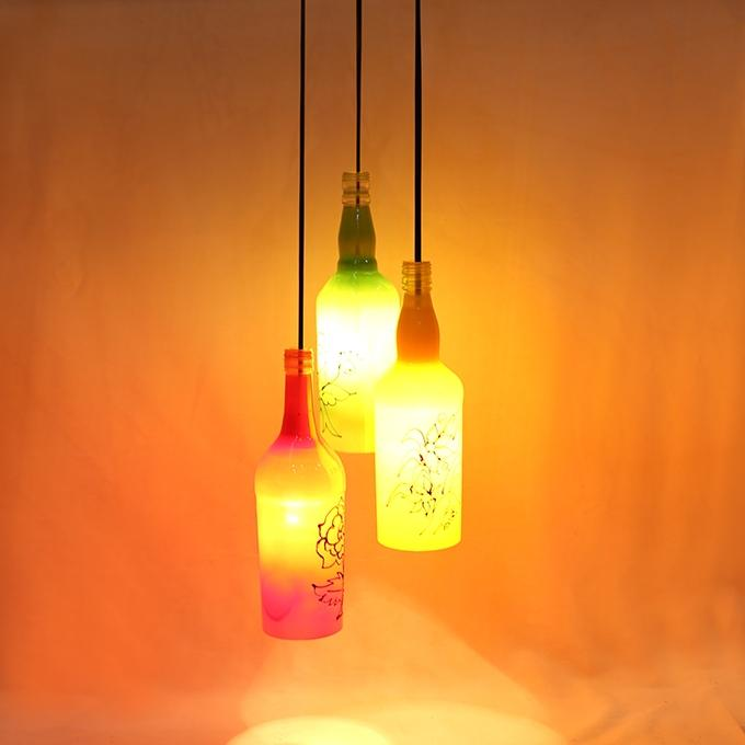Bottle,Wood and chain Light Holder - Multicolor