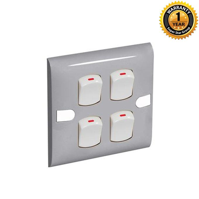 Color Slim Series Color Slim Four Gang One Way Switch – Ash