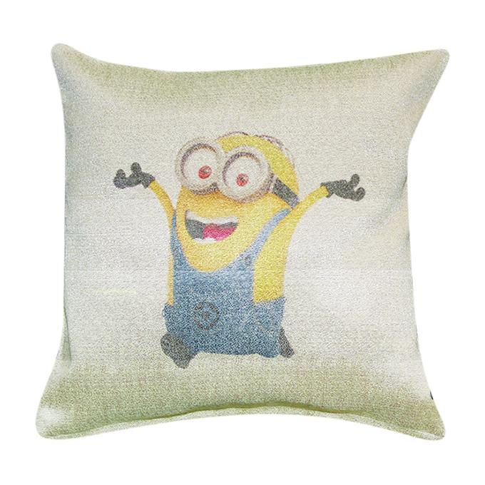 Minion Printed Cushion Cover - Tan