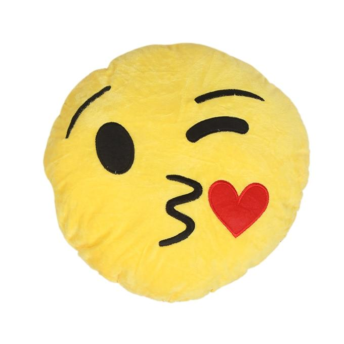 Kissing Heart Emoji Decorative Cushion - Yellow