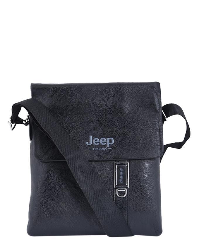 PU Leather Messenger Bag For Men - Black