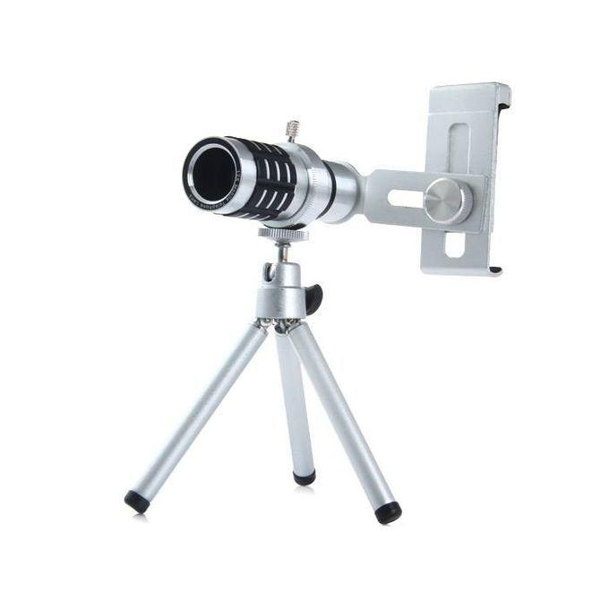 Universal 12X Zoom Mobile Camera Lens - Silver