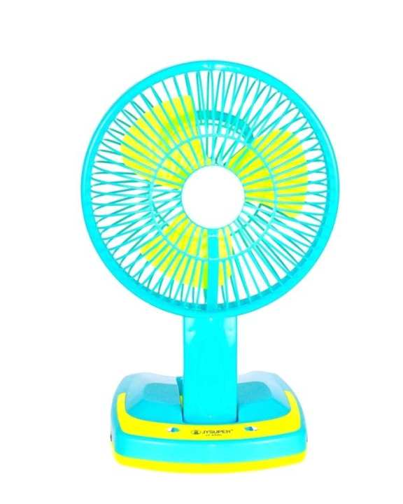 Rechargeable Folding Table Fan and Light - Aqua and Yellow