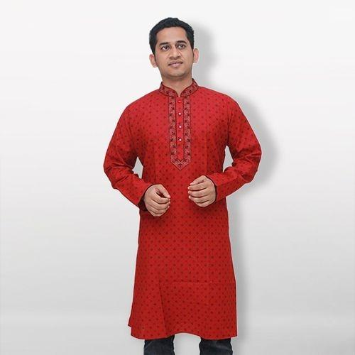 Red Cotton Casual Panjabi For Men