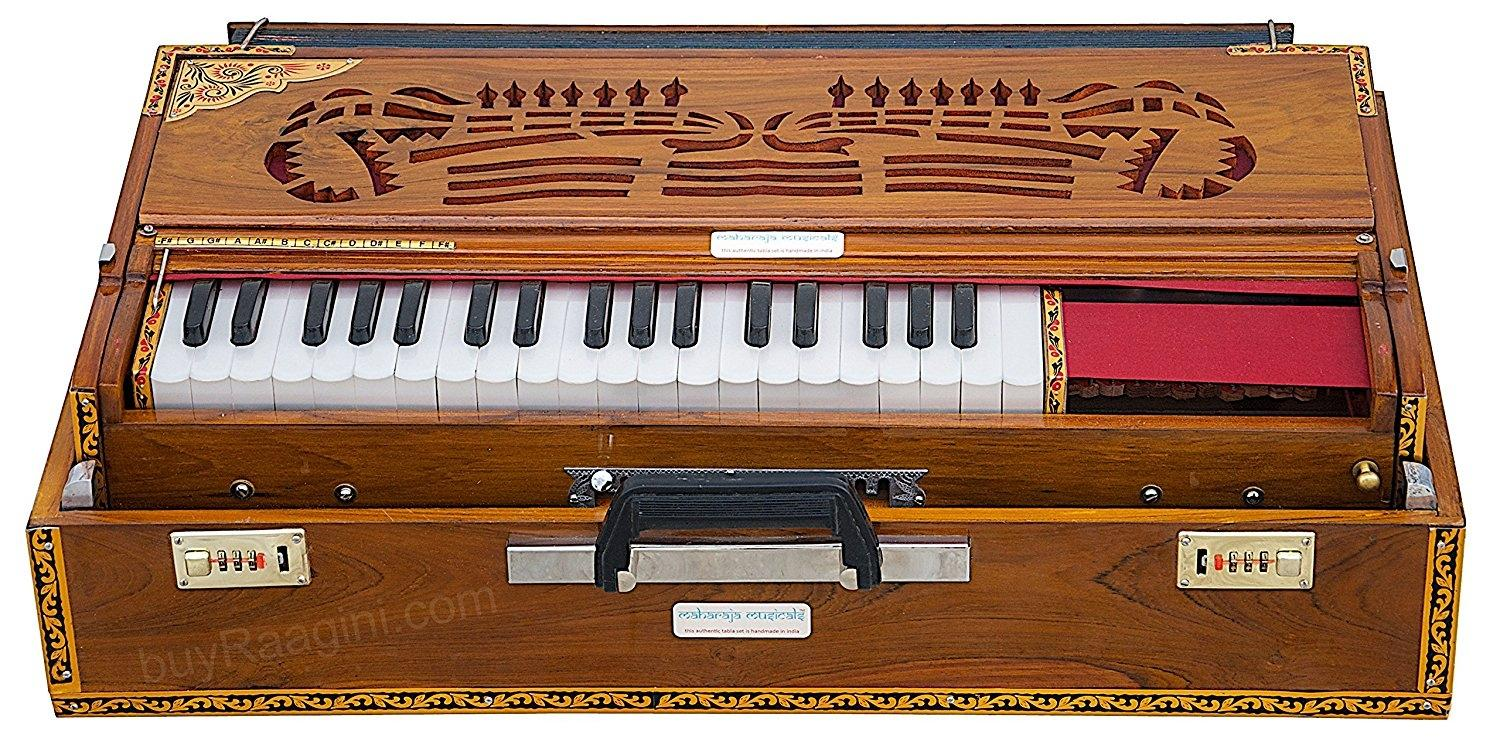 Calcutta Harmonium Scale Changer, Maharaja Musicals, In USA, Folding, Teak Wood, 13 Scales, 4 Reeds, Natural Color, Tuned To A440, Padded Bag, Book, Indian Musical Instrument (PDI-BBH)