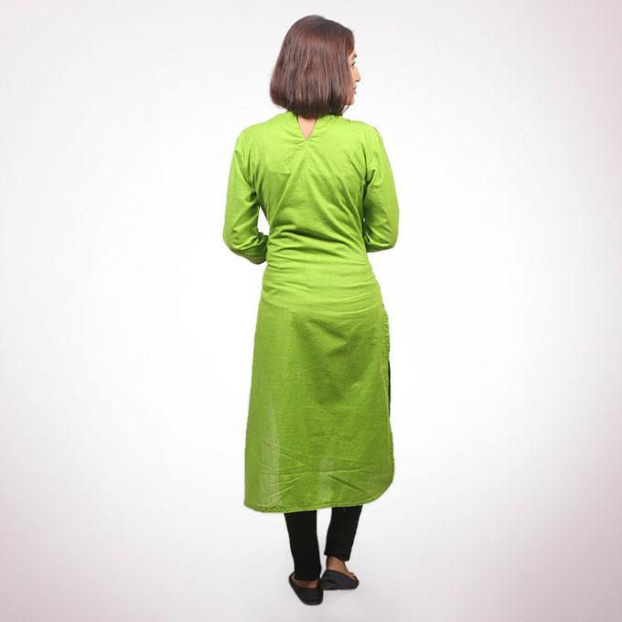 Light Green And Light Orange Cotton Kurti For Women