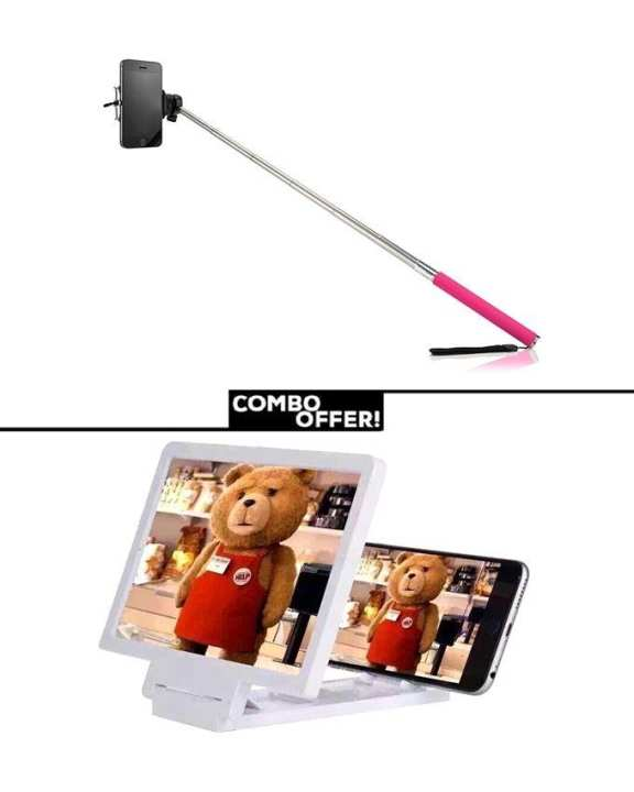 Combo of 3D Enlarged Screen and Selfie Stick
