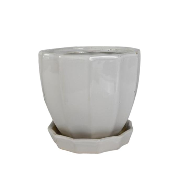 Ceramic Plant Holder With Bottom Plate  - White