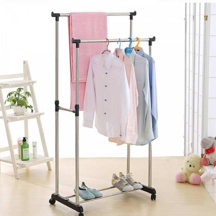 Folding Double Clothes and Shoe Rack - Silver and Black