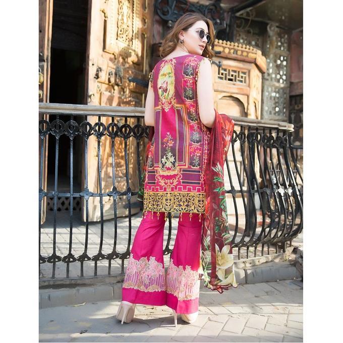 Plum Printed Cotton Unstitched Pakistani Lawn for Women