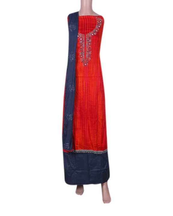 Cotton Unstitched Salwar Kameez With Embroidery Pure Dopatta For Women - Red and Gray