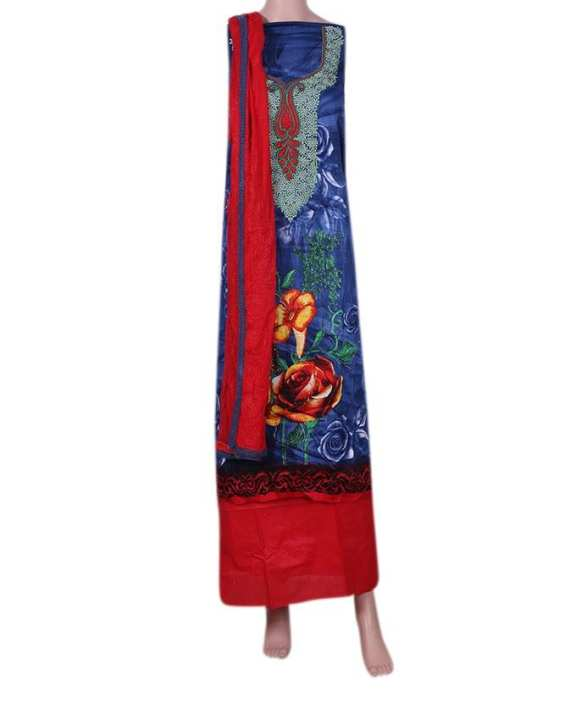 Cotton Unstitched Salwar Kameez With Pure Dopatta For Women - Blue and Red