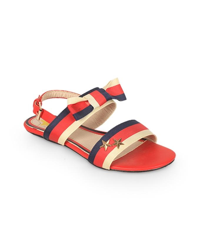 Red Fabric Flat Sandal for Women - 1012/17